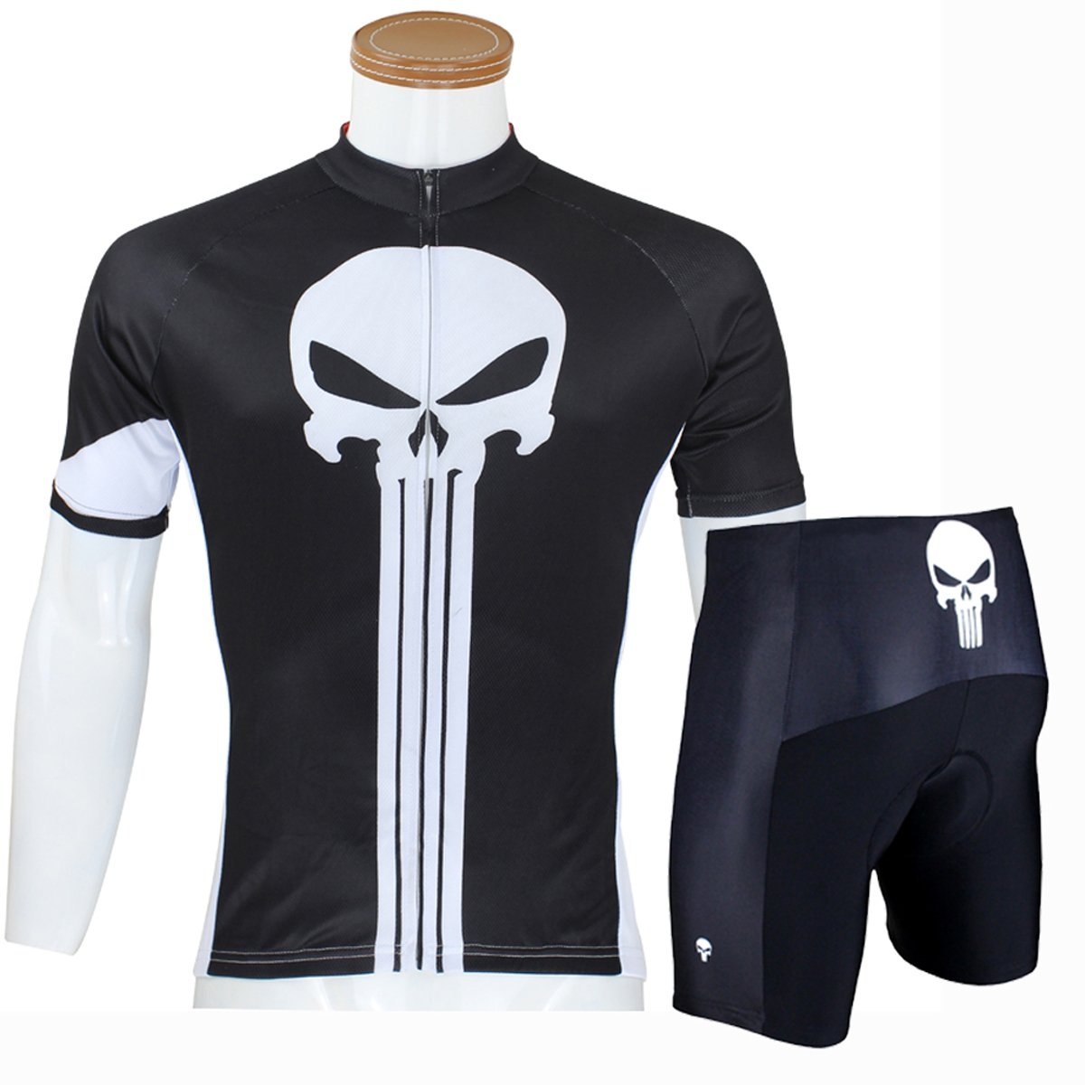 ILPALADINO Men's Black Cycling Shirts Punisher Pattern Bike Jerseys Tight Design