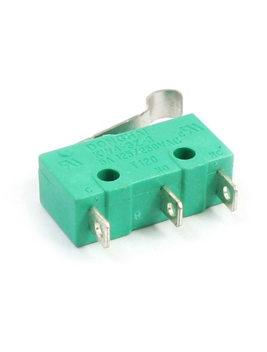 sourcingmap 5 pi/èces AC 125V 5 A Levier De Charni/ère Micro Interrupteur KW4-3Z-3 pour le moulin CNC