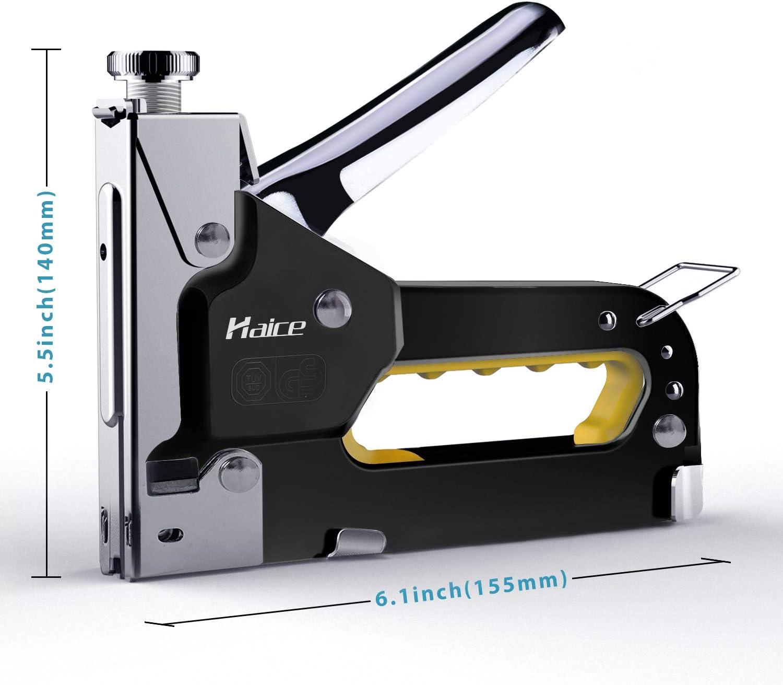 Grapadora Manual,Haice 3 en 1 Pistola de Grapas Profesional, Tacker de 3 vías con 600 Grapas para Material de Fijación, Decoración, Carpintería, ...