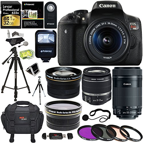 Canon EOS Rebel T6i Digital SLR EF-S 18-55mm IS STM Lens + Canon EF-S 55-250mm + Polaroid 58mm .43x Wide Angle & 2.2X Lenses + Lexar 32GB 633x + Tripods + Polaroid 58mm Filter + Polaroid Accessory Kit