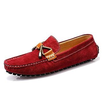 HhGold Calzado de conducción para Hombres Cuero Primavera/Verano/Otoño Talón Plano con Cordones/Casual Mocasines y Zapatos sin Cordones Zapatos Perezosos ...