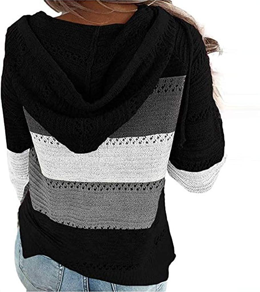 Tigivemen Womens Sweater Striped Knit Color Block V Neck Hoodies Long Sleeve Hollow Out Pullover Casual Sweatshirts