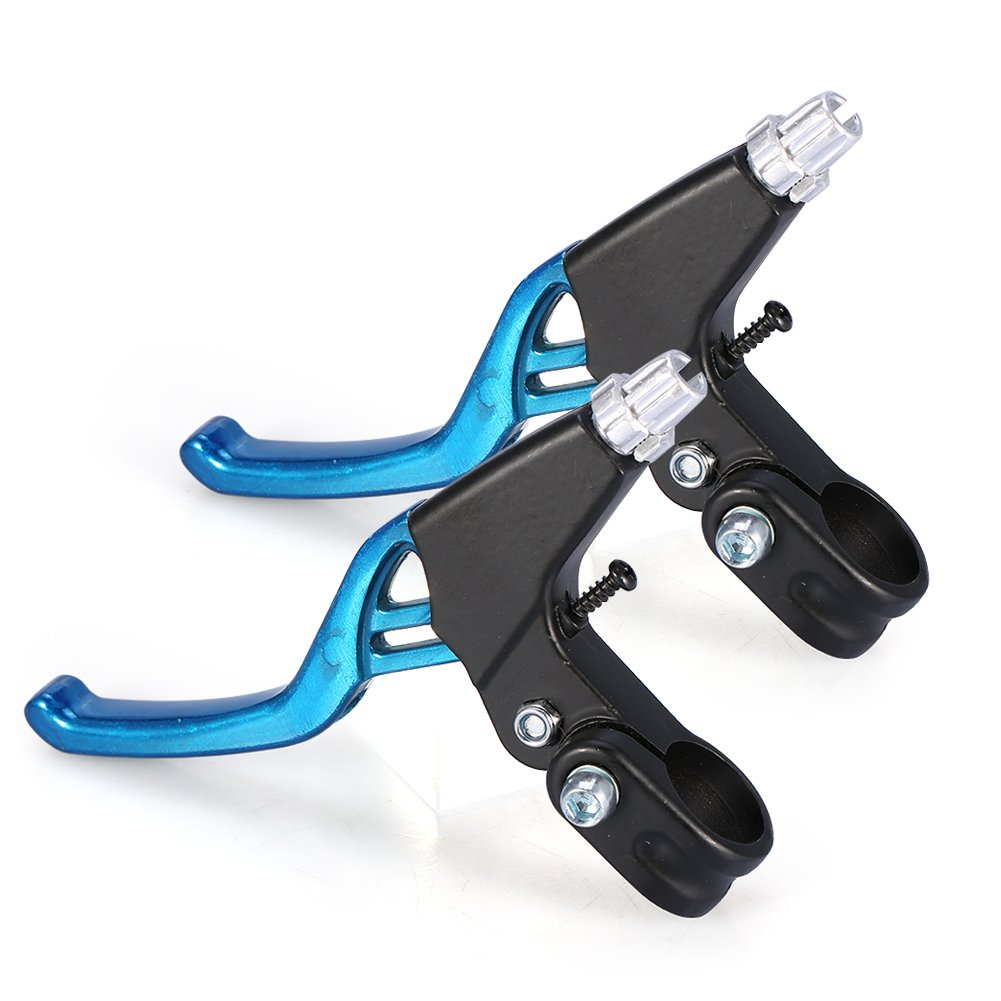 Thur amo 1 Pair Bicycle Brake Lever, V-Brake Handlebar Aluminium Alloy Bike Brake Handle Universal 2.2cm for Most Bicycle, Road Bike, Mountain Bike (Blue) by Thur amo