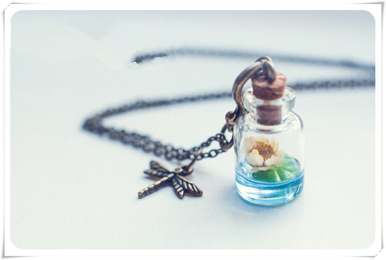 Lotus botella collar. Agua Lily collar collar, vial de vidrio botella de cristal colgante.: Amazon.es: Joyería
