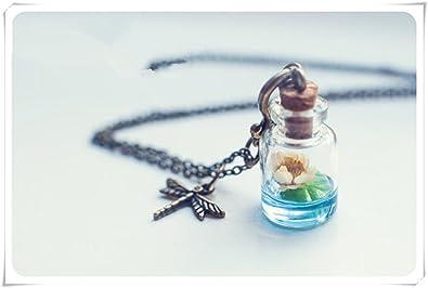 Lotus botella collar. Agua Lily collar collar, vial de vidrio botella de cristal colgante