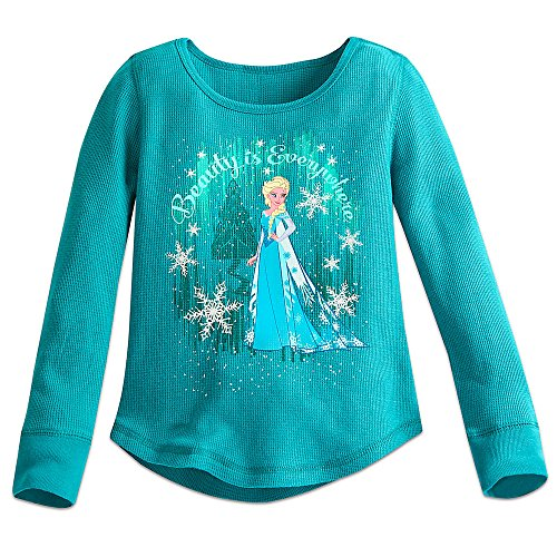 Disney Elsa Thermal Tee for Girls Size 4 Green