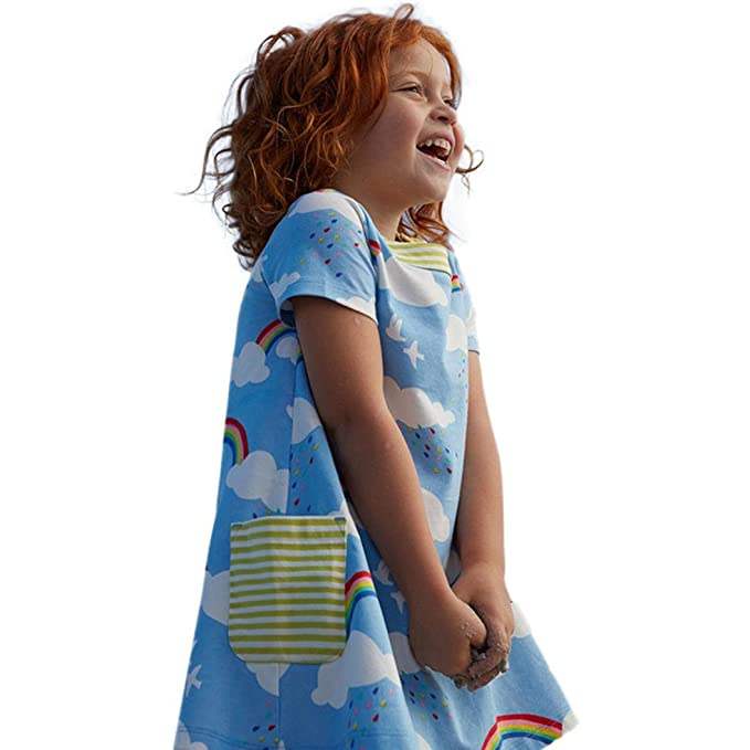 Vestido Corto Niñas, Las Muchachas del Niño del bebé del Niño Visten la Ropa