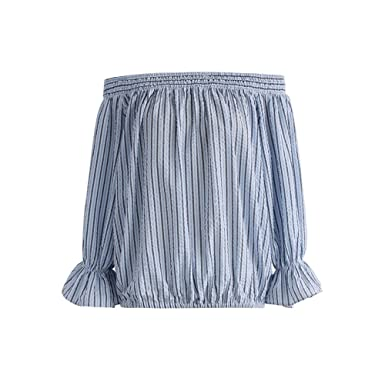 8efbe41af30ff Image Unavailable. Image not available for. Color  Chicwish Women s Pastel  Blue Stripes Off-shoulder Bowknot Shirt ...