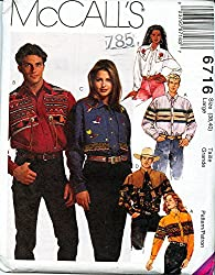 McCall's 6716 ©1993 Misses and Mens Western Shirts; Size LARGE (38, 40)