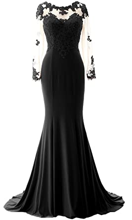 Macloth Women Mermaid Lace Evening Gown Long Sleeves Mother Of The