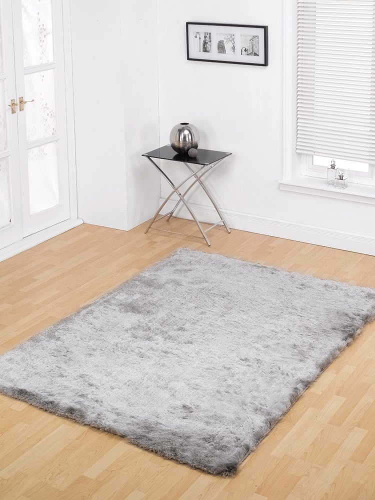 Large Modern Contemporary Silky Shaggy Soft Touch U0026 Feel Grey Silver Rug In  120 X 170 Cm (4u0027 X 5u00276u0027u0027) Carpet By Lord Of Rugs: Amazon.co.uk: Kitchen U0026  Home