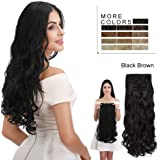 "REECHO 280G Thick Volume 24"" Long 4 Pieces-Pack 3/4 Full Head Curly Wave Synthetic Clip in on Hair Extensions Hairpieces For Women"