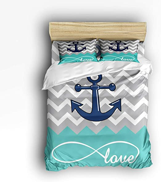 Anchor Duvet Cover Set with Pillow Shams Anchor and Rope Motif Print