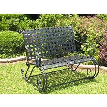International Caravan Iron Scroll Double Rocker – Antique Black – 3474-ep