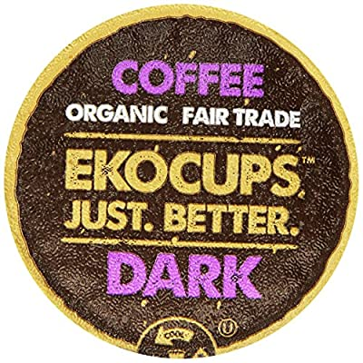 EKOCUPS Organic Artisan Coffee, Dark, Dark roast for Keurig K-cup single serve Brewers, 0.45 Ounce, 10 count