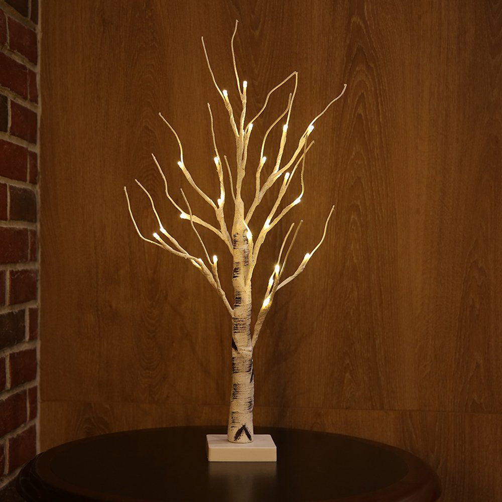Zanflare Birch Tree Lights, 0.6M/23.6 Inch 24 LEDs Battery Operated Desk Tree Light, Warm White Bonsai Tree Light, Silver Birch Twig Tree for Home, Party, Birthday, Wedding Indoor Dec