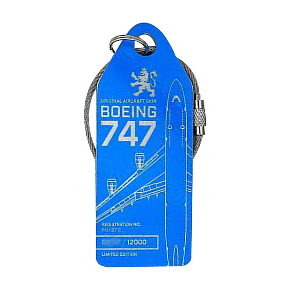 Limited Keychain Luggage Tag Lufthansa Boeing 747 Airbus A320 Aircraft Skin (13 KML747blue) by Bellagione