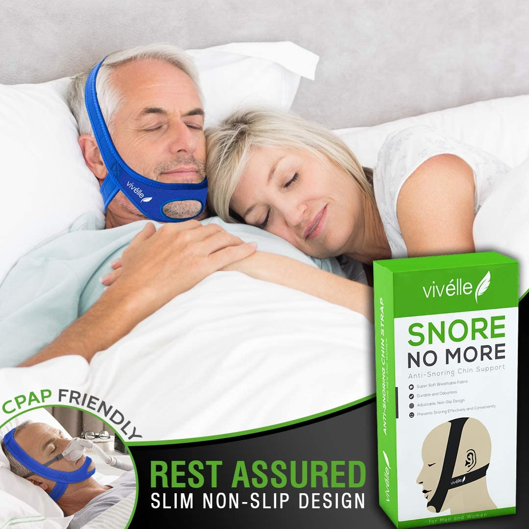 CPAP Bi-Pap VPAP BPAP TMJ Chin Strap Anti Snoring Chin Strap for Men and for Women - Snore No More by Vivélle, Slim-Non-Slip, Adjustable, Premium