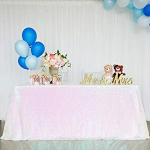 B-COOL Sequin Tablecloth 50x80inch White Iridescent Sparkly Glitter Tablecloth for Halloween Christmas New Year and Other Event Decor