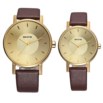 Pareja Relojes PU Correa Ocio Cuarzo Reloj Oro Rosa Ronda Impermeable Reloj ,Gold