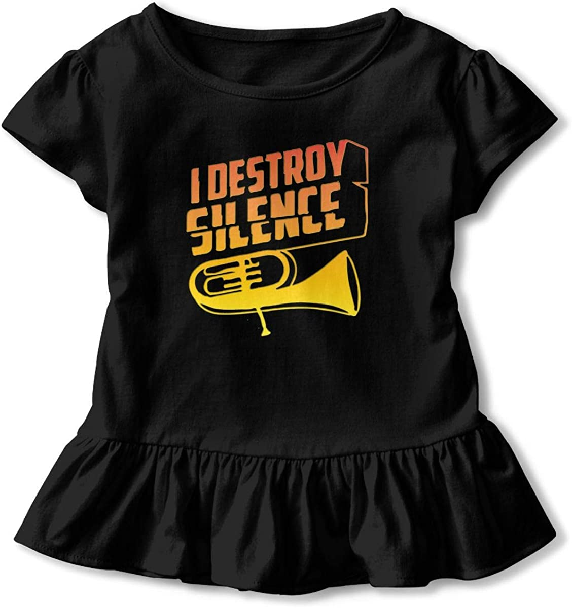 Cheng Jian Bo Gold I Destroy Silence Funny Tuba Player Toddler Girls T Shirt Kids Cotton Short Sleeve Ruffle Tee