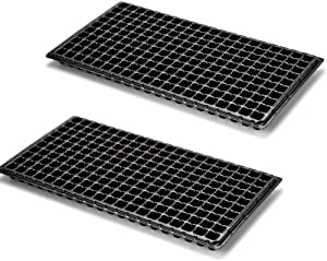 WarmShine 2 Pieces 200 Cells Plant Growing Trays Seed Starter Tray Garden Seed Starter Grow Trays Drain Holes£¬21.25x11.02inch