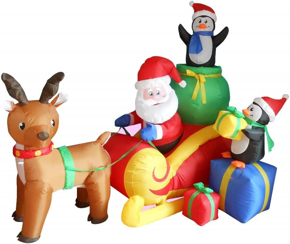 6 Foot Long Christmas Inflatable Santa on Sleigh with Reindeer and Penguins Yard Decoration Lights Decor Outdoor Indoor Holiday Decorations, Blow up Lighted Yard Decor, Lawn Inflatables Home Family