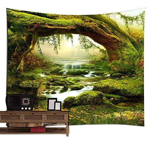 POPPAP Tree Tapestry Wall Decor, 3D Print Woodland Old Tree in Deep Tropical with River Water Sunshine Magic Landscape, Wall Hanging Blacket for Bedroom Living Room Dorm, 79