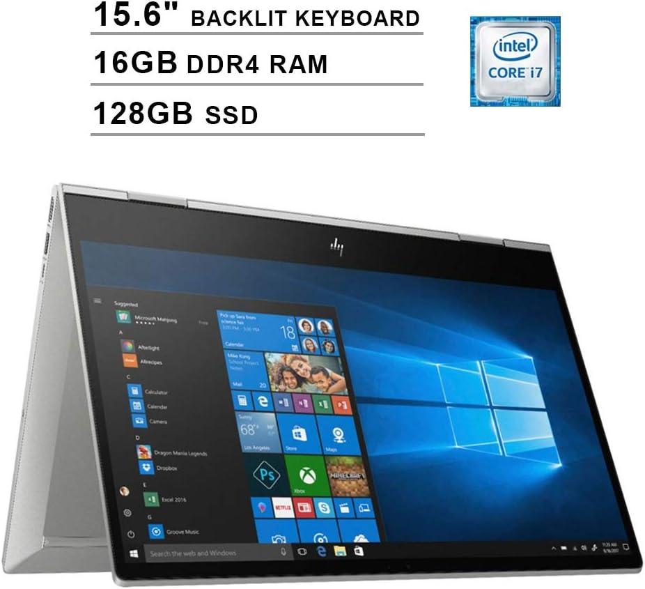 HP Envy x360 15.6-Inch FHD 1080P 2 in 1 Touchscreen Laptop, Intel Quad Core i7-8565U up to 4.6 GHz, Intel UHD 620, 16GB DDR4 RAM, 128GB SSD, USB-C, HDMI, WiFi, Bluetooth, Backlit KB, Windows 10 Home
