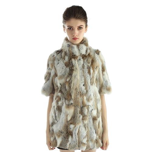 Bellerfur Chaquetas de piel de conejo verdadero natural de las mujeres abrigos de invierno con la mi...