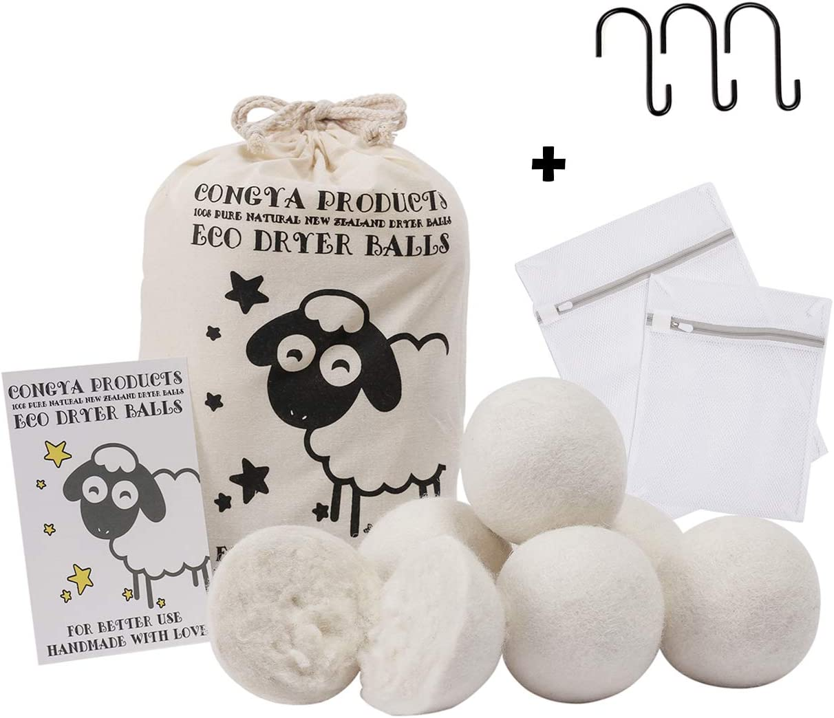 Wool Dryer Balls Organic, Natural Eco Felt Dryer Balls Laundry Reusable Fabric Softener Ball Reduce Wrinkles 6 Pack White XL Christmas Present