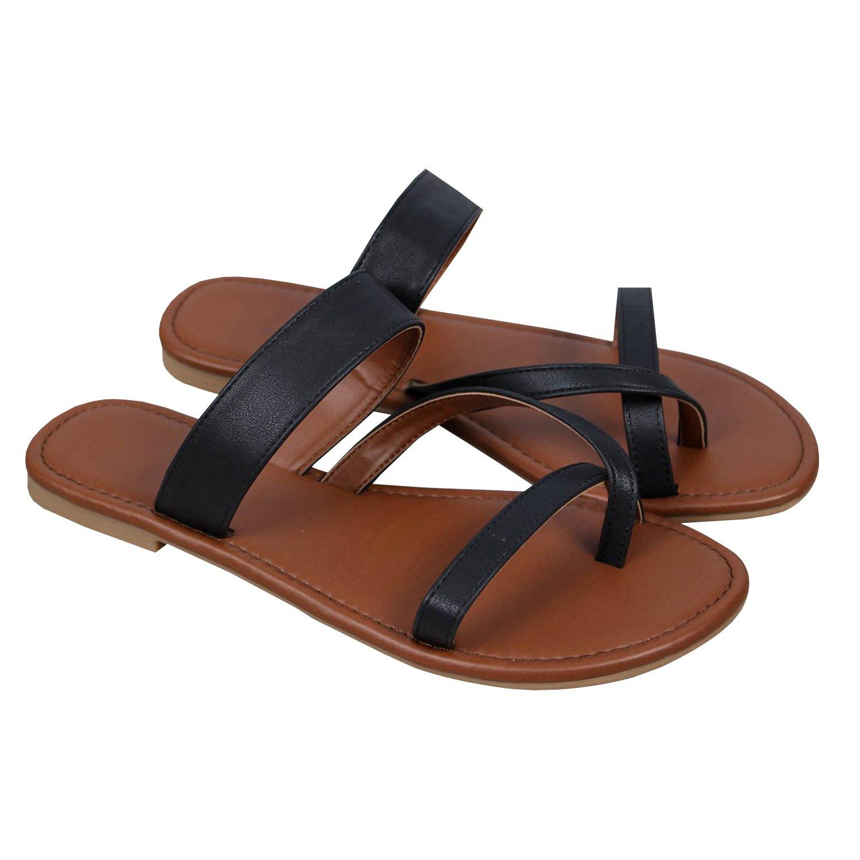 Outgobuy Damen Leder Thong Flache Ferse Sommer Sandalen Handgefertigt in Griechenland Flip Flops  42 EU|Schwarz