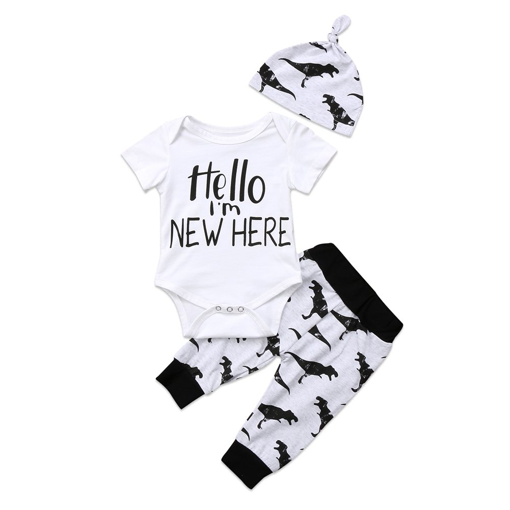3Pcs Infant Newborn Baby Boys Short Sleeve Romper Bodysuit+Dinosaur Pants+Hat Outfit Clothes Set