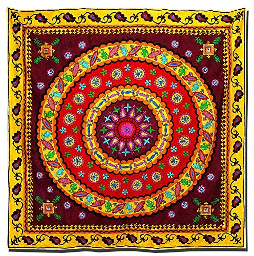 Embroidered Tapestry Fabric - SPECIAL LARGE UZBEK SILK EMBROIDERED SUZANI FABRIC BEDSPREAD TAPESTRY A7577