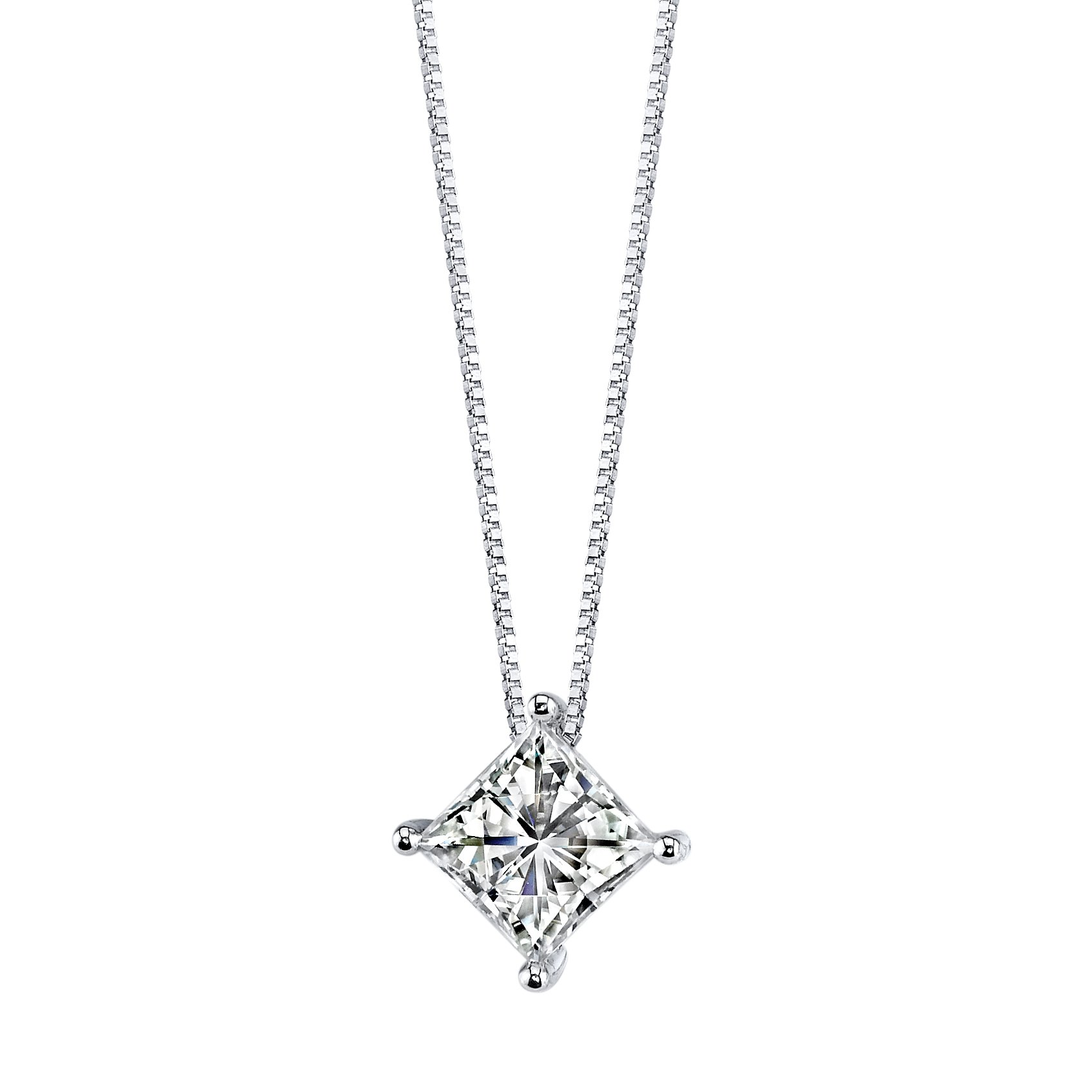 14K White Gold Square Brilliant Cut 8.0mm Moissanite Pendant Necklace, 3.10ct DEW By Charles & Colvard