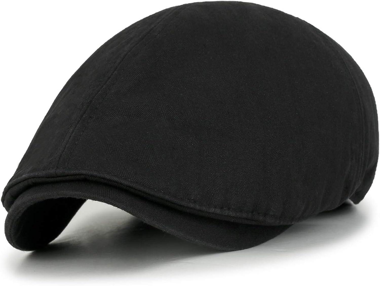ililily Linen-Like Flat Cap Cabbie Hat Gatsby Ivy Irish Stretch Newsboy