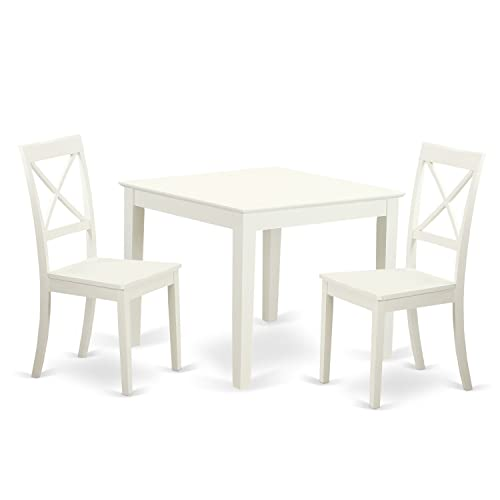 OXBO3-LWH-W 3 Pcsquare Kitchen Table and 2 Wood Kitchen Dining Chairs in Linen White