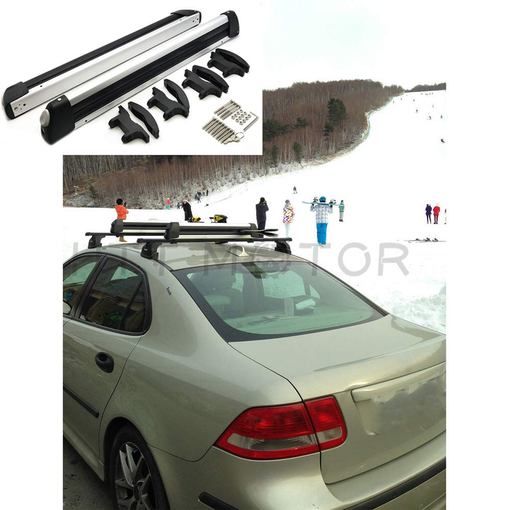HTTMT- Universal Ski Snowboard Roof Rack Carriers for 6 Pair Skis or 4 Snowboards