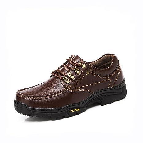 Scarpe di cuoio invecchiate vintage in pelle scarpe da trekking casual esterne traspiranti e confortevoli antiscivolo , brown , 42