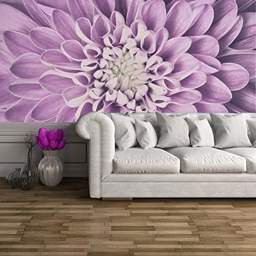 Purple Dahlia Flower Petals Close-up Floral Wall Mural Nature Photo Wallpaper available in 8 Sizes Large Digital