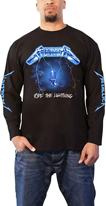 Metallica T Shirt Ride The Lightning Band Logo Oficial De Los Hombres Long: Amazon.es: Ropa y accesorios