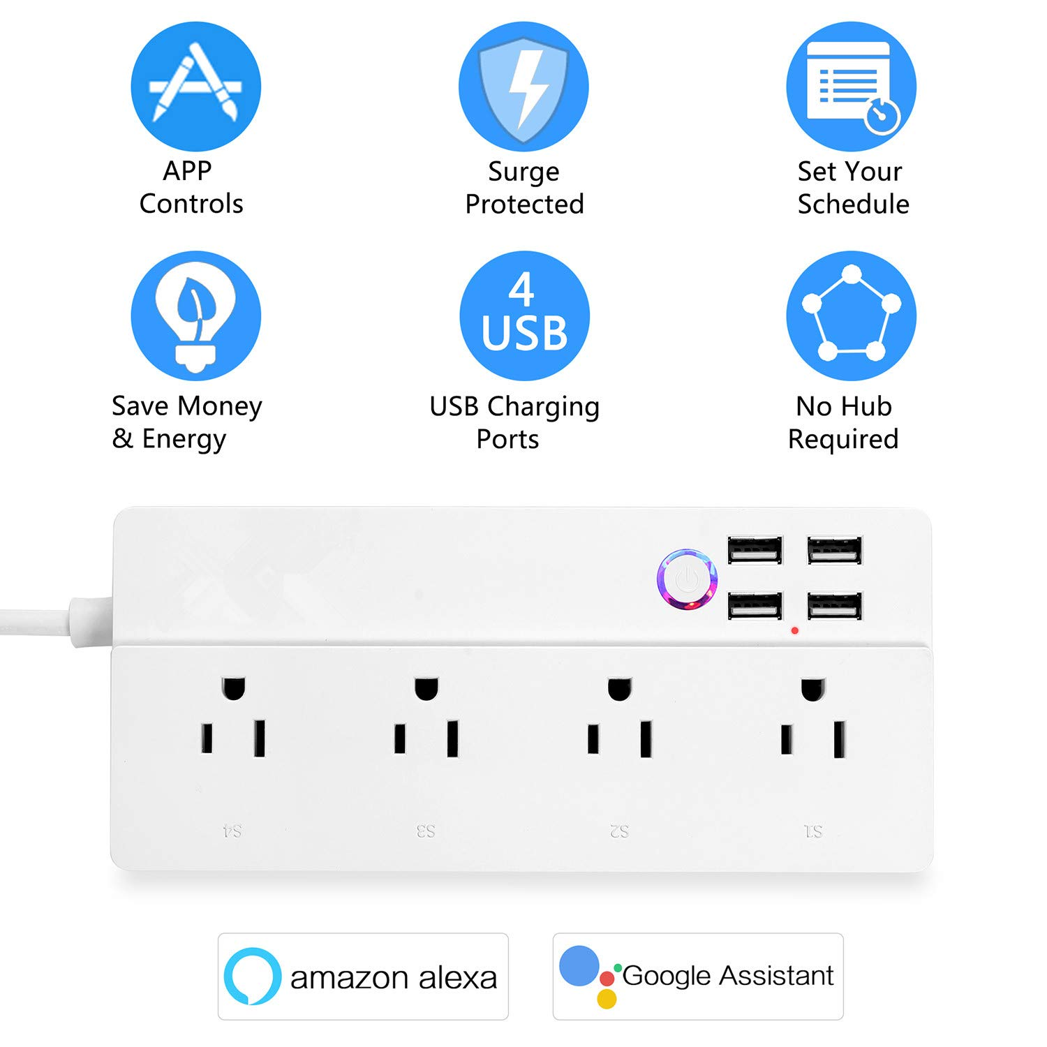 Individual Control No Hub Smart Power Strip Wifi Surge Protector Voice Control with Alexa /& Google Home 4 AC Outlets 4 USB Port with 6-Foot Cord App Control Appliances Timing Schedule