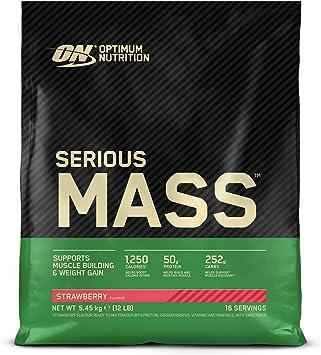 Optimum Nutrition Serious Mass Proteina en Polvo, Mass Gainer Alto en Proteína, con Vitaminas, Creatina y Glutamina, Fresa, 16 Porciones, 5,45kg, ...