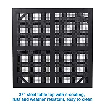 MF STUIDIO 37 x 37 Square Patio Bistro Table Outdoor Dining Table Powder-Coated Steel Frame Top Umbrella Stand Deck Outdoor Furniture Garden Table, Black