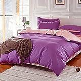 3 Or 4pcs Pure Cotton Purple Pink Color Assorted Plain Bedding Sets ( 3pcs Suit Twin Size )