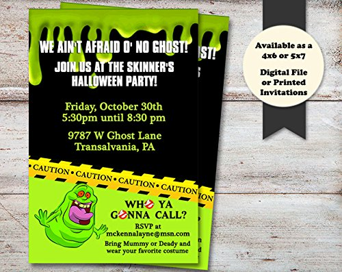 Ghosts Halloween, Costume or Birthday Party Invitation, Set of 10 5