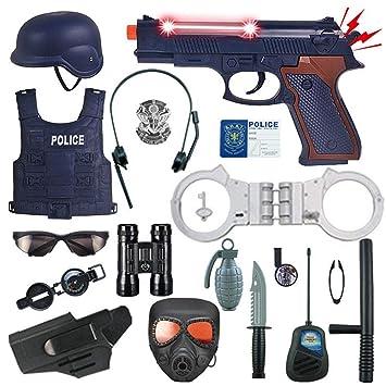 Tawcal Disfraz de Policía para Niños,18 Piezas Kit de Juego de Roles Juegos de Supervivencia de Guerra Juguete Cosplay Juego de Uniforme de Policía ...