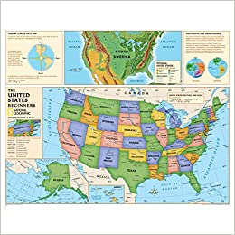 Geographical Map Of United States.National Geographic Kids Beginners Usa Education Grades K 3 Wall
