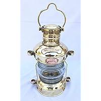 Antique Brass Anchor Oil Lamp Nautical Vintage Maritime