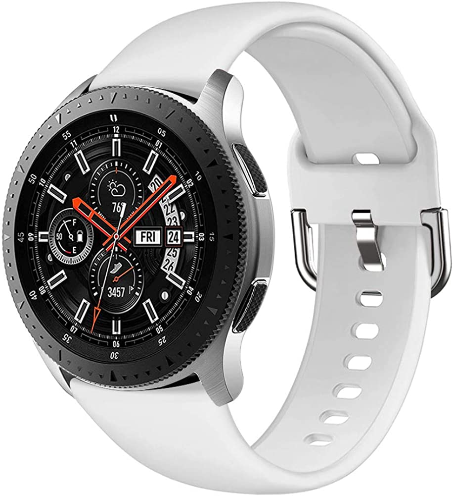 Compatible with Samsung Galaxy Watch 46mm Bands, Gear S3 Frontier / Classic Band, GHIJKL 22mm Soft Silicone Breathable Replacement Sport Strap Wristband for Galaxy Watch 3 45mm / 46mm / Gear S3, Women Men, Large Small